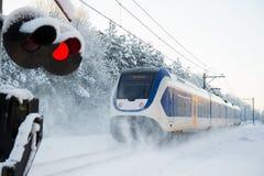 Trem do Dutch na neve fotos de stock