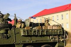 Trem do exército dos EUA, 27 3 2016, República Checa, cruzando-se ao Polônia de Boleslav velho, Imagem de Stock Royalty Free