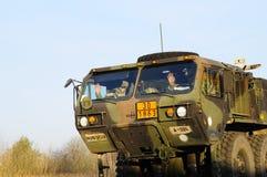 Trem do exército dos EUA, 27 3 2016, República Checa, cruzando-se ao Polônia de Boleslav velho, Imagens de Stock Royalty Free