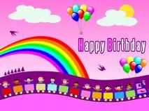 Trem do feliz aniversario [menina 1] ilustração do vetor