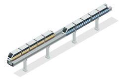 Trem do monotrilho Trem de céu Ilustração isométrica do vetor de um trem de céu Os veículos projetaram levar um grande número Foto de Stock
