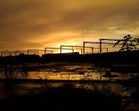 Trem do nascer do sol Fotografia de Stock