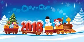 Trem 2018 do Natal Imagens de Stock Royalty Free