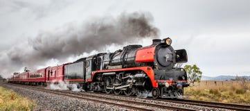 Trem do vapor, Clarkefield, Victoria, Austrália, em agosto de 2016 imagens de stock royalty free