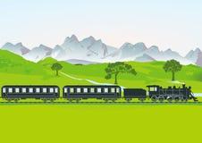Trem do vapor com transportes  Imagens de Stock