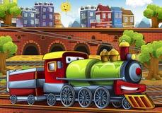 Trem do vapor dos desenhos animados - estação de caminhos-de-ferro Fotografia de Stock