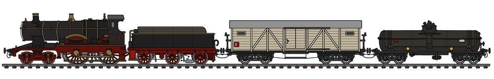 Trem do vapor do frete do vintage ilustração do vetor