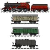 Trem do vapor do frete do vintage ilustração stock