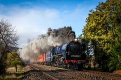 Trem do vapor, Woodednd, Victoria, Austrália, em agosto de 2016 Foto de Stock