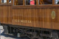 Trem do vintage, bonde em Porto de Soller, Mallorca Foto de Stock Royalty Free