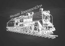 Trem do vintage no quadro-negro Foto de Stock