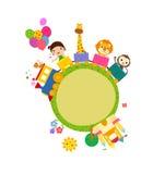 Trem dos desenhos animados com menina e animais Imagens de Stock Royalty Free