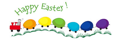 Trem dos ovos da páscoa do arco-íris com um menino Foto de Stock Royalty Free