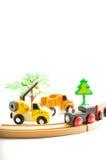 Trem e caminhão, guindaste Brinquedos para a ilustração de children Imagem de Stock