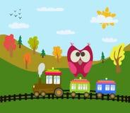 Trem e coruja dos desenhos animados Imagens de Stock Royalty Free