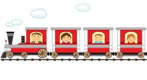 Trem e família alegre do catroon ilustração stock