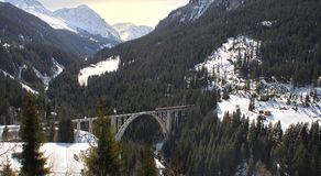 Trem e ponte Fotografia de Stock Royalty Free