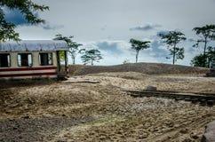 Trem e trilho do abandono no safanne Fotografia de Stock