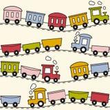 Trem e trilhos - teste padrão sem emenda Fotos de Stock Royalty Free