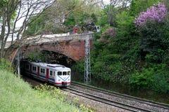 Trem elétrico sob a ponte Fotos de Stock Royalty Free