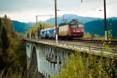 Trem em um viaduto Imagens de Stock