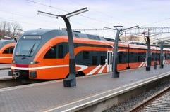 Trem europeu moderno em Estônia Foto de Stock Royalty Free