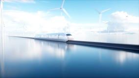 Trem futurista do monotrilho de Speedly Conceito do futuro Povos e robôs Água e energias eólicas Animação 4K realística ilustração stock