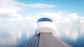 Trem futurista do monotrilho de Speedly Conceito do futuro Povos e robôs Água e energias eólicas Animação 4K realística ilustração royalty free
