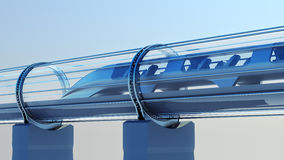 Trem futurista do monotrilho no túnel rendição 3d Fotografia de Stock