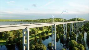 Trem futurista, moderno que passa no mono trilho Conceito futuro ecológico Opinião aérea da natureza 4K photorealistic ilustração stock