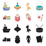Trem kukla, imagem Os brinquedos ajustaram ícones da coleção no preto, Web da ilustração do estoque do símbolo do vetor do estilo Foto de Stock