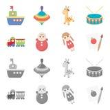 Trem kukla, imagem Os brinquedos ajustaram ícones da coleção nos desenhos animados, Web monocromática da ilustração do estoque do Imagens de Stock