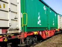 Trem locomotivo amarelo em Hungria Fotografia de Stock