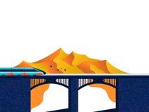 Trem na ponte ilustração royalty free