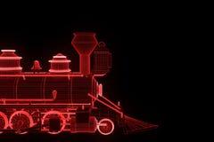 Trem no estilo de Wireframe do holograma Rendição 3D agradável Imagens de Stock