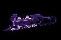 Trem no estilo de Wireframe do holograma Rendição 3D agradável Imagem de Stock