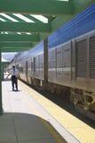 Trem parado na estação Imagens de Stock Royalty Free