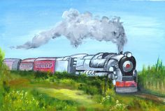 Trem pintado Fotos de Stock Royalty Free
