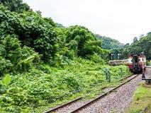 Trem que atravessa a selva em Chiang Mai fotografia de stock