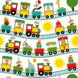 Trem sem emenda do teste padrão com caráteres do aniversário Imagem de Stock