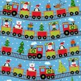 Trem sem emenda do teste padrão com caráteres do Natal Fotografia de Stock