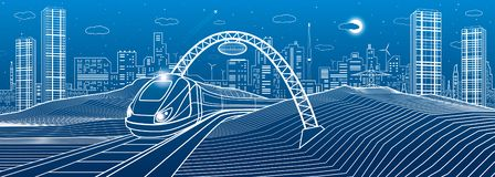 Trem sob a ponte Cidade moderna da noite, cidade de néon Ilustração da infraestrutura, cena urbana Linhas brancas no fundo azul V ilustração do vetor