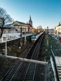 Trem suburbano em Moscou fotografia de stock