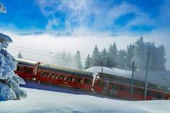 Trem vermelho da roda denteada de Rigi Bahnen no inverno, montanhas, neve, bl Imagem de Stock