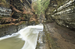 Treman Gorge and Stone Walkway Stock Images
