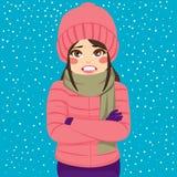 Tremare di inverno della donna Fotografie Stock Libere da Diritti
