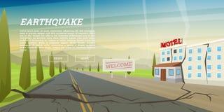 Tremblement de terre réaliste avec la crevasse moulue et la maison ruinée avec la fente Catastrophe naturelle ou cataclysme, cata illustration de vecteur