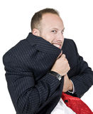 Trembling man. On isolated background Royalty Free Stock Images
