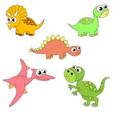 Tremendous dinosaurus dino set, the collection of coloring book template, the group of outline digital elements. Royalty Free Stock Photos