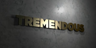Tremendous - Gold text on black background - 3D rendered royalty free stock picture. This image can be used for an online website banner ad or a print postcard stock illustration